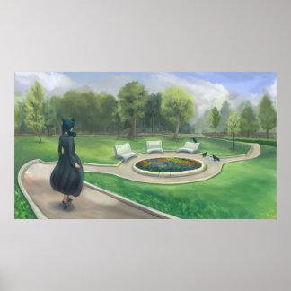 Walking in the Garden - Fantasy Park Illustration Poster