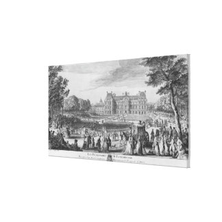 Walking in the Luxembourg gardens, 1729 Canvas Print