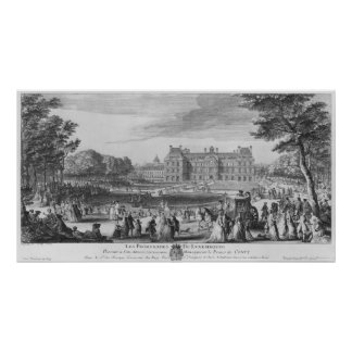 Walking in the Luxembourg gardens, 1729 Poster