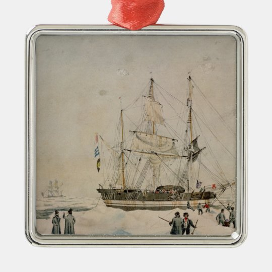 Walking in the Pack, Ross Expedition, 1842 Metal Ornament