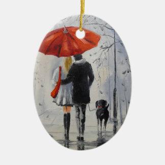Walking in the rain ceramic ornament