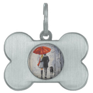 Walking in the rain pet name tag
