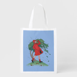 walking in the rain reusable grocery bag