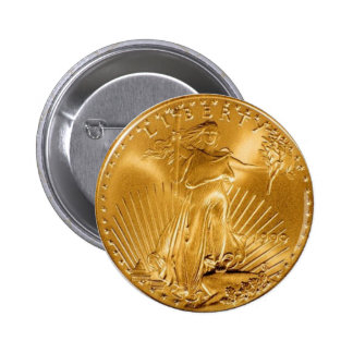 Walking Liberty Golden Coin 2 Inch Round Button