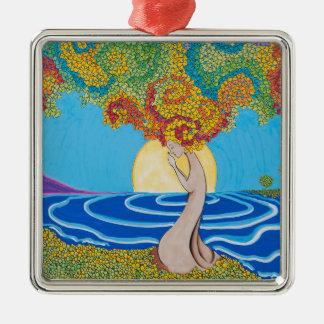 Walking Meditation Metal Ornament