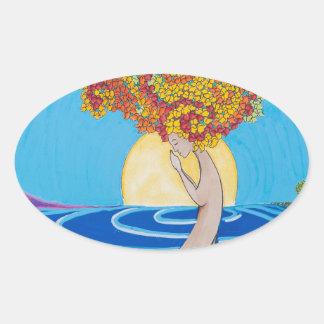 Walking Meditation Oval Sticker