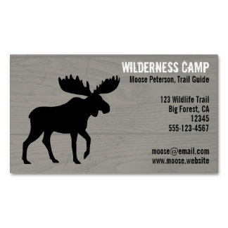 Walking Moose Silhouette Business Card Magnet