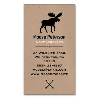 Walking Moose Silhouette Magnetic Business Card