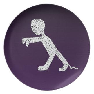 Walking Mummy Decorative Plate in Dark Purple