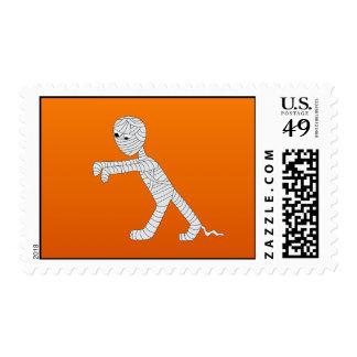 Walking Mummy Postage Stamp in Orange