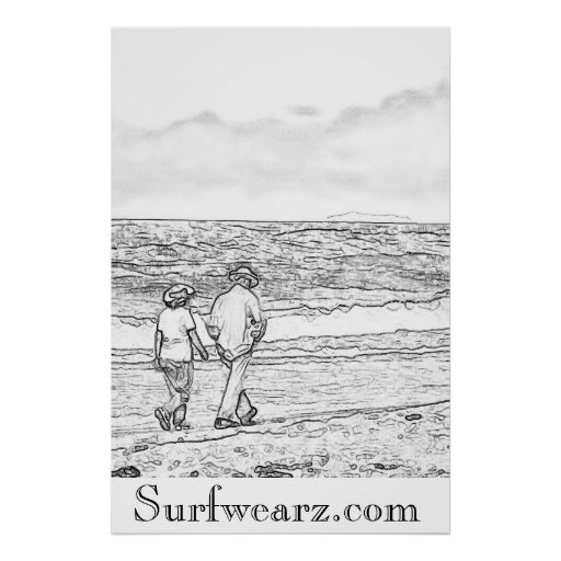 Walking On a Beach Coloring Book Poster