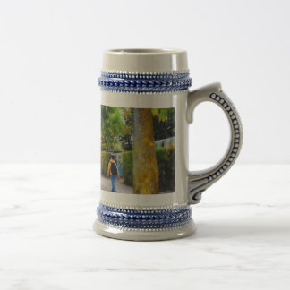 Walking on a beautiful path beer stein