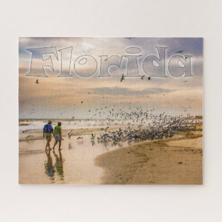Walking on a Florida Beach Travel Photography Jigsaw Puzzle