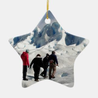 Walking on Perito Moreno Glacier, Argentina Ceramic Ornament