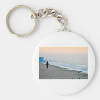 Walking on the Beach at Sunset Basic Round Button Keychain
