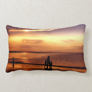 Walking on the Beach at Sunset Pillow