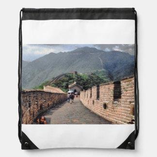 Walking on the Great Wall of China Drawstring Bag