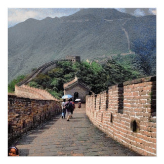 Walking on the Great Wall of China Poster