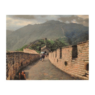 Walking on the Great Wall of China Wood Wall Art