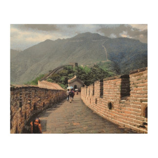 Walking on the Great Wall of China Wood Wall Decor