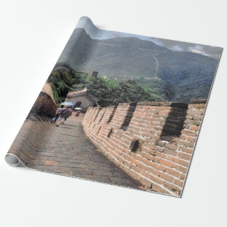 Walking on the Great Wall of China Wrapping Paper