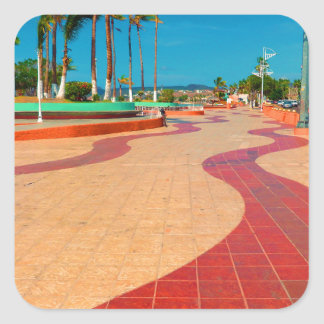 Walking on the streets of Baja Square Sticker