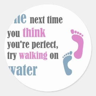 walking on water classic round sticker