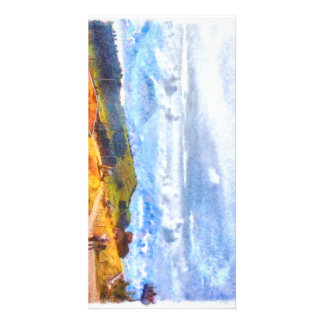 Walking out on a Swiss landscape Card