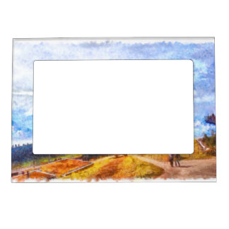 Walking out on a Swiss landscape Magnetic Picture Frame