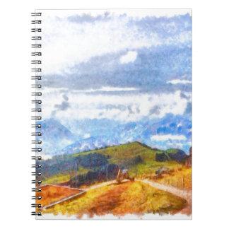 Walking out on a Swiss landscape Notebook