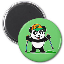Nordic Walking Panda & Lion Round Magnet