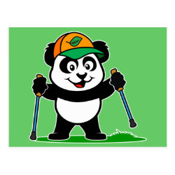 Postcard with Nordic Walking Panda & Lion design