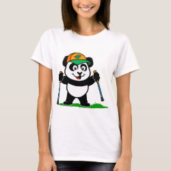 Women's Basic T-Shirt with Nordic Walking Panda & Lion design