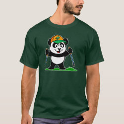 Men's Basic Dark T-Shirt with Nordic Walking Panda & Lion design