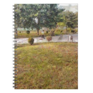 Walking path and greenery spiral notebook
