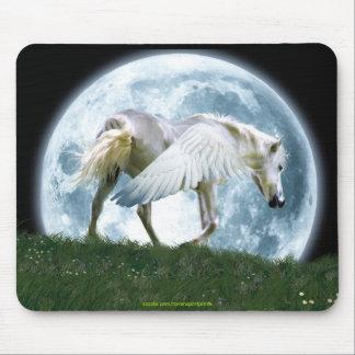 Walking Pegasus and Full Moon Fantasy Art Mousepad