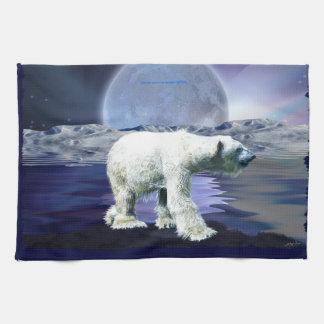 Walking Polar Bear Wildlife Art Kitchen Tea-Towel