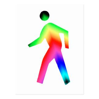 Walking Rainbow Man Postcard