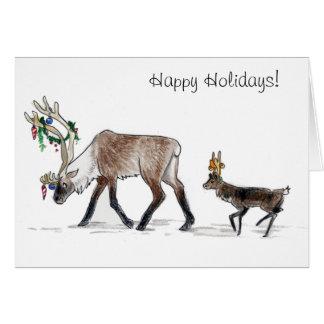 Walking Reindeer Happy Holidays Card
