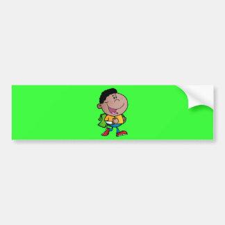 Walking School Boy African American kid cartoon Bumper Stickers
