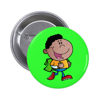 Walking School Boy African American kid cartoon Button