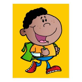 Walking School Boy African American kid cartoon Postcard