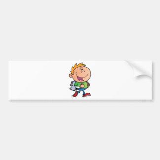 Walking School Boy Bumper Stickers