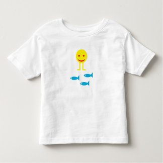 Walking smiley with fish t-shirt