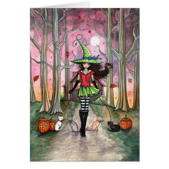 Walking the Cats Halloween Witch Card