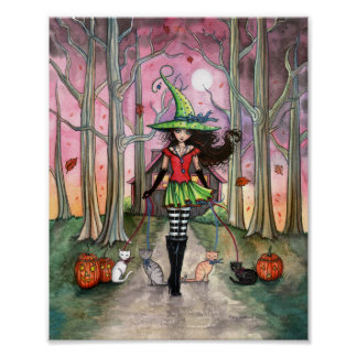 Walking the Cats Witch Halloween Poster