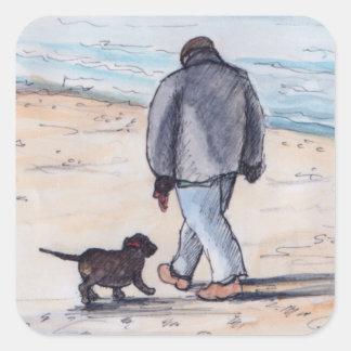 Walking the dog - 05 square sticker