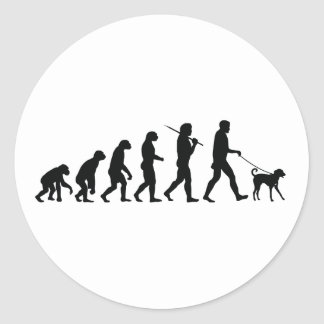 Walking The Dog Classic Round Sticker
