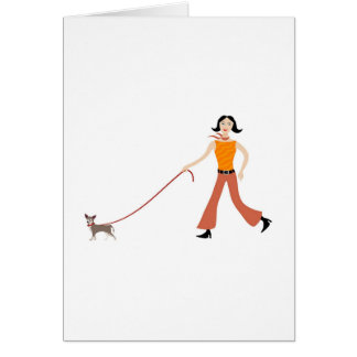 Walking the dog greeting cards