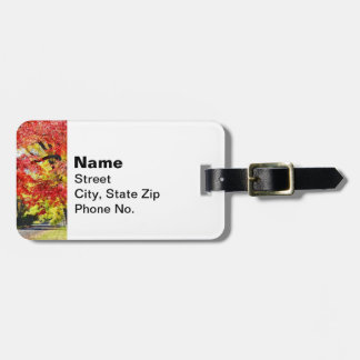 Walking The Dog In Autumn Luggage Tag